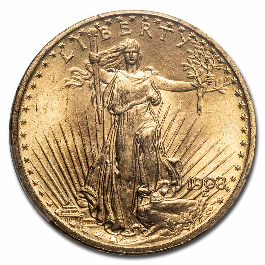 1908 $20 St. Gaudens Gold Double Eagle No Motto MS-66 PCGS