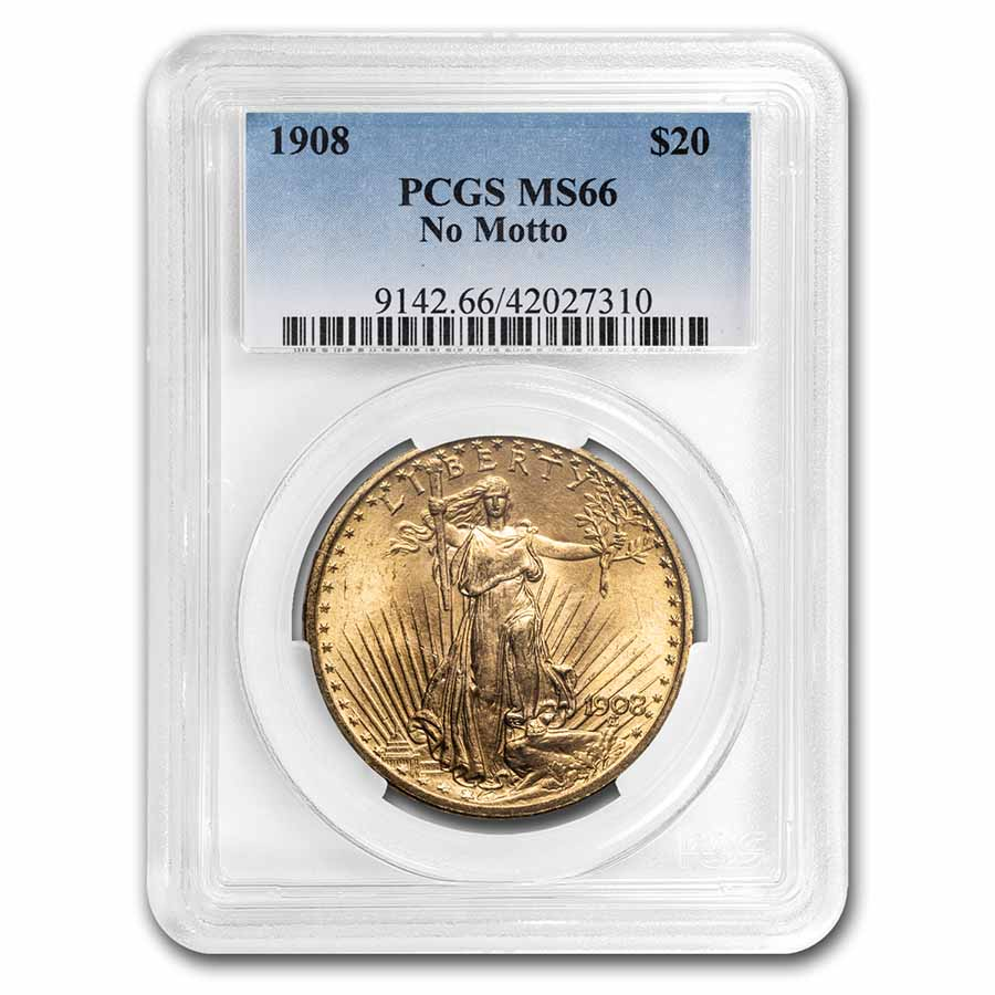 1908 $20 St. Gaudens Gold Double Eagle - No Motto - MS-66 PCGS