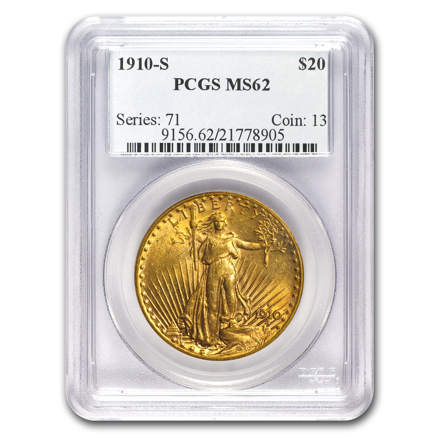 1910-S $20 St. Gaudens Gold Double Eagle MS-62 PCGS