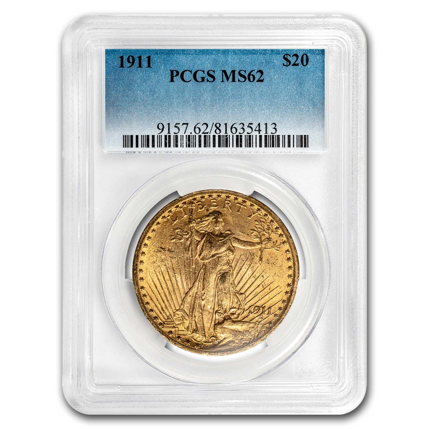 1911 $20 St. Gaudens Gold Double Eagle MS-62 PCGS
