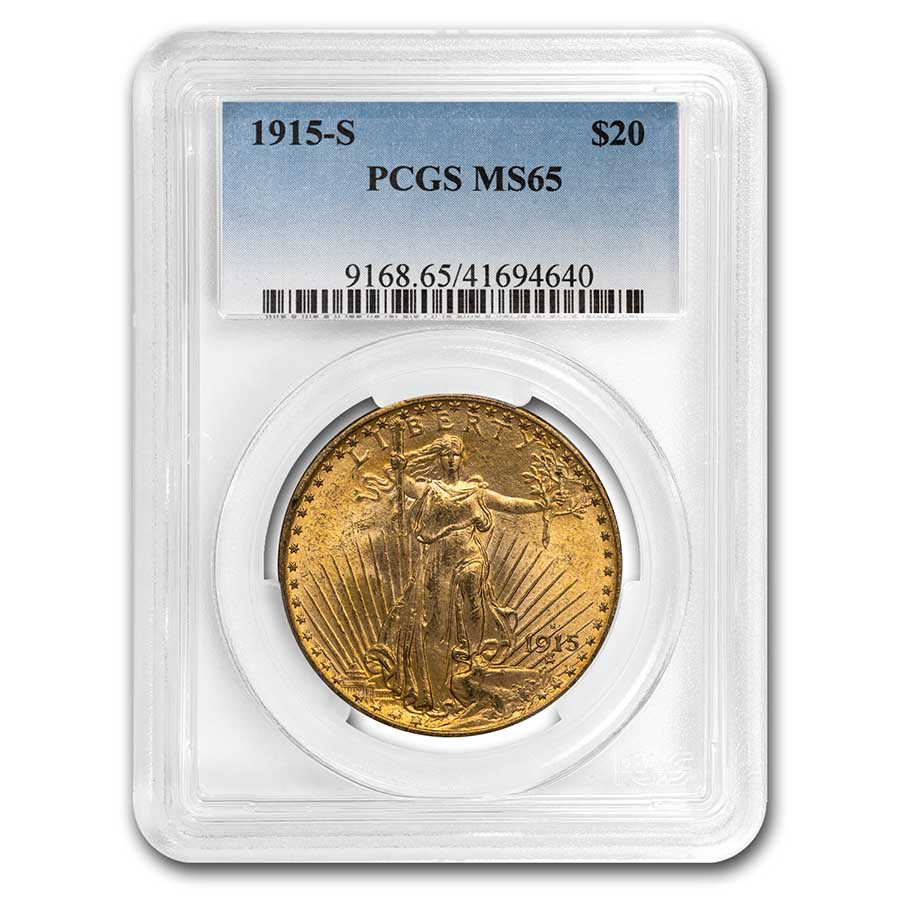 1915-S $20 St. Gaudens Gold Double Eagle MS-65 PCGS