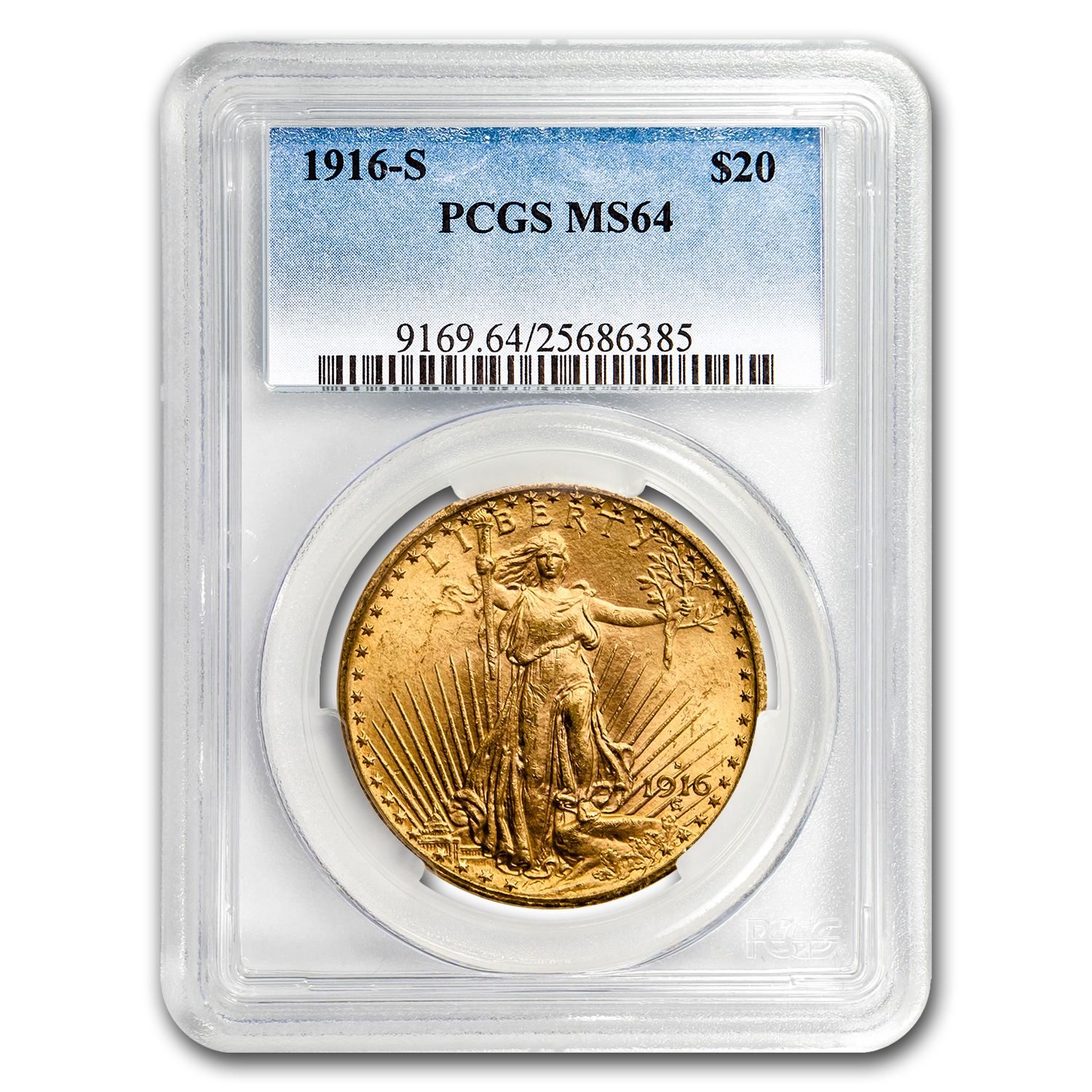 1916-S $20 Saint-Gaudens Gold Double Eagle MS-64 PCGS