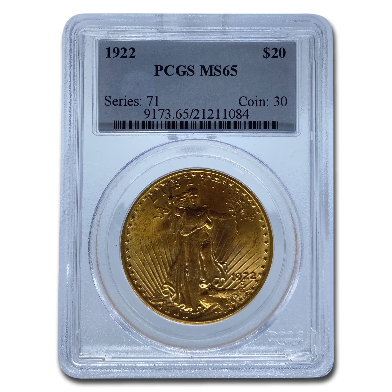 1922 $20 St. Gaudens Gold Double Eagle MS-65 PCGS