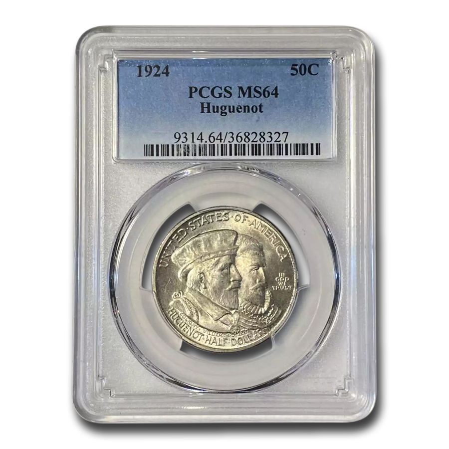 1924 Huguenot Commem Half Dollar MS-64 PCGS