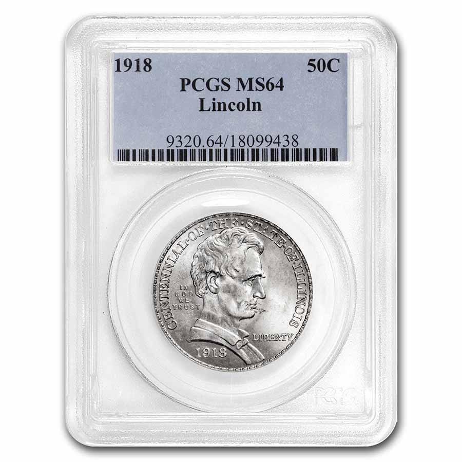 1918 Lincoln Illinois Centennial Half Dollar MS-64 PCGS