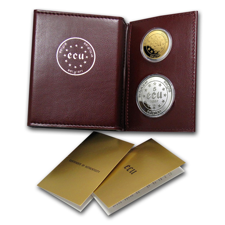 1987 Belgium 2 Coin Gold 50 Ecu Silver 5 Ecu Proof Set