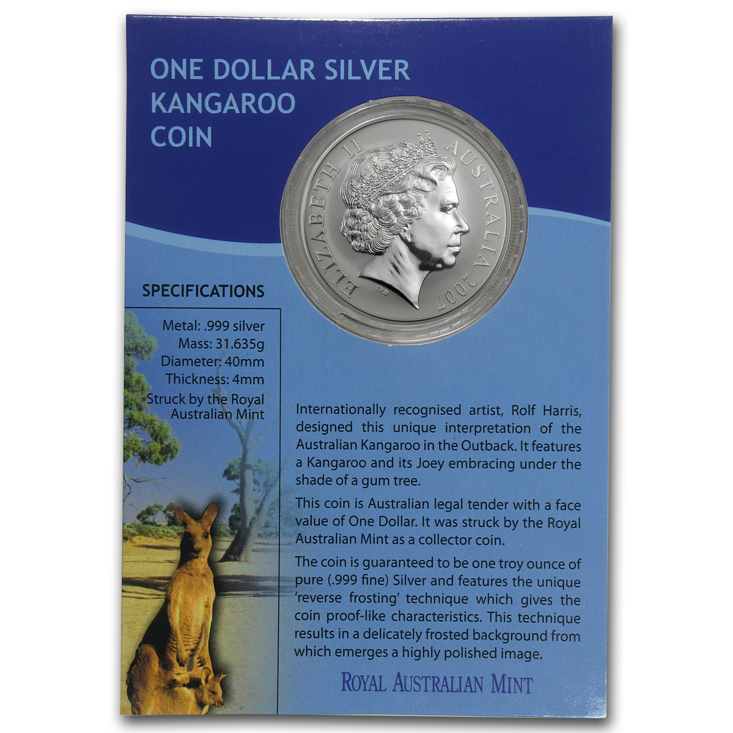 2007 1 oz Australian Silver Kangaroo (In Display Card)