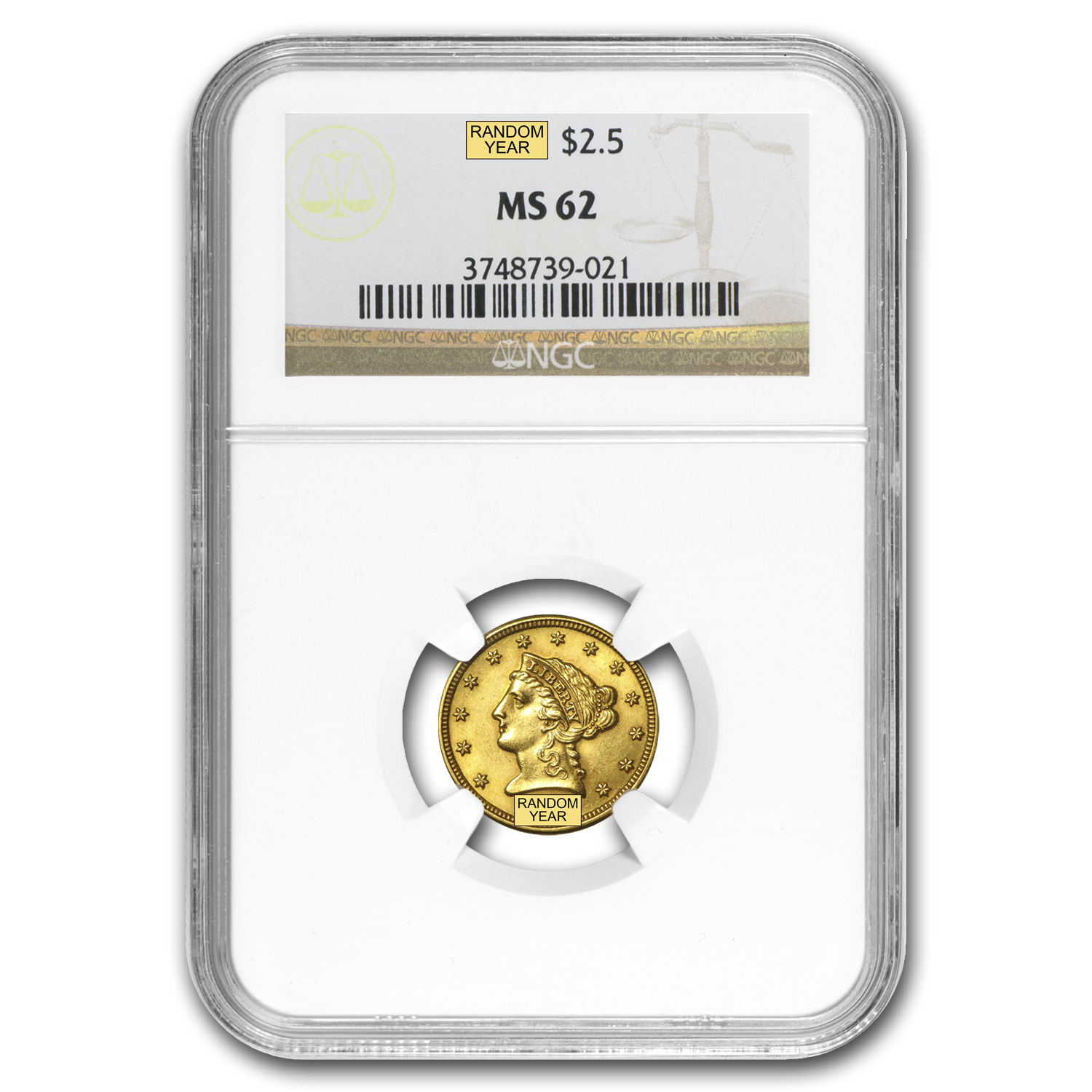 $2.50 Liberty Gold Quarter Eagle - MS-62 NGC or PCGS