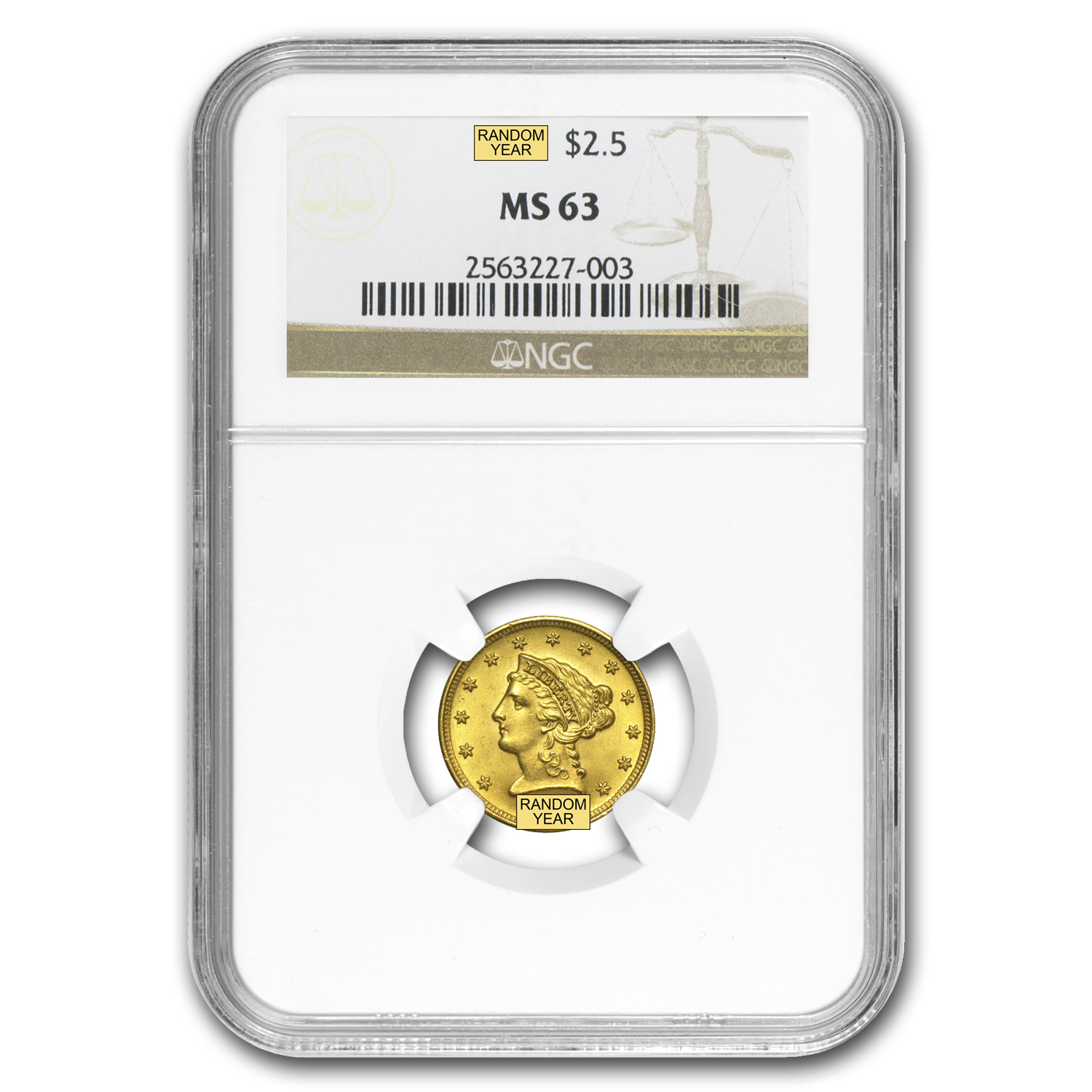 $2.50 Liberty Gold Quarter Eagle MS-63 NGC/PCGS