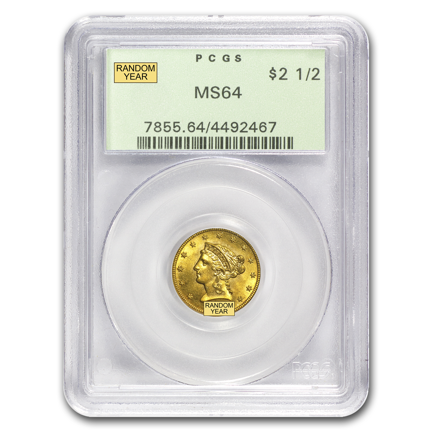 $2.50 Liberty Gold Quarter Eagle MS-64 NGC/PCGS