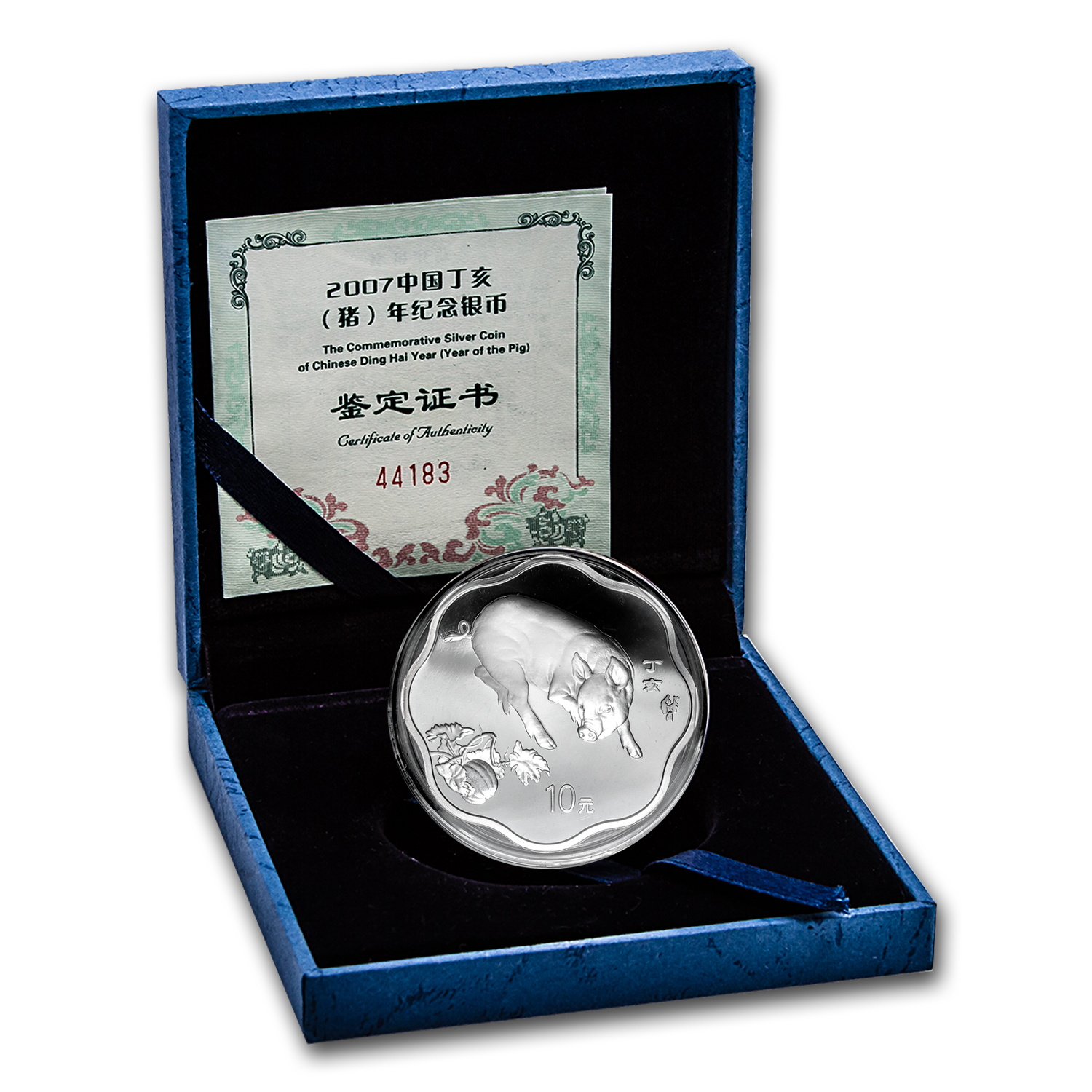 2007 Year of the Pig - 1 oz Silver - Flower Coin (w/Box & CoA)