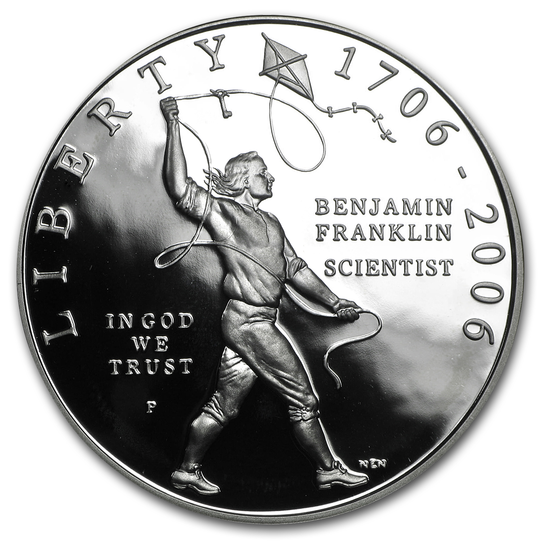 2006 P Ben Franklin Scientist 1 Silver Commem Prf W Box