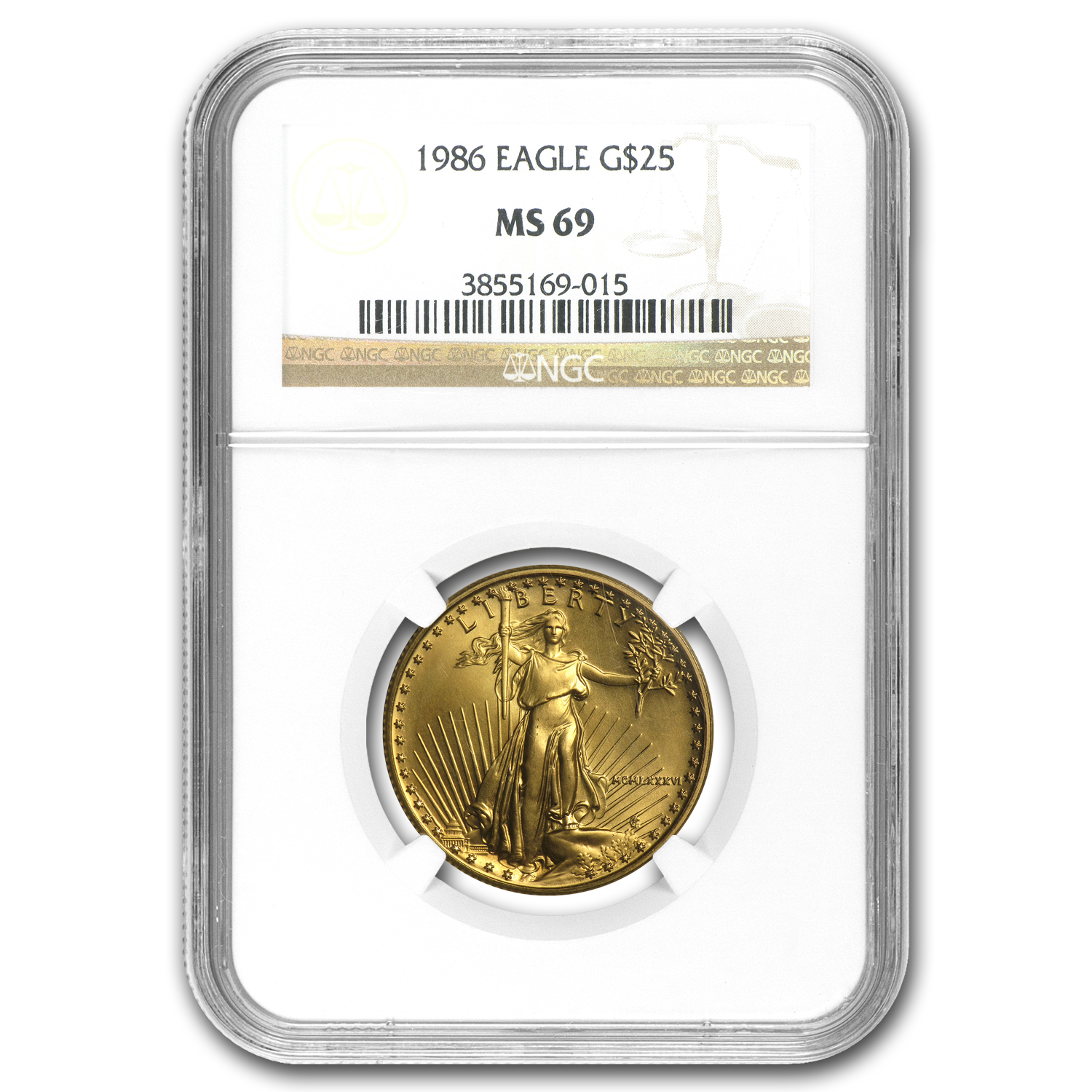 1986 1/2 oz Gold American Eagle MS-69 NGC