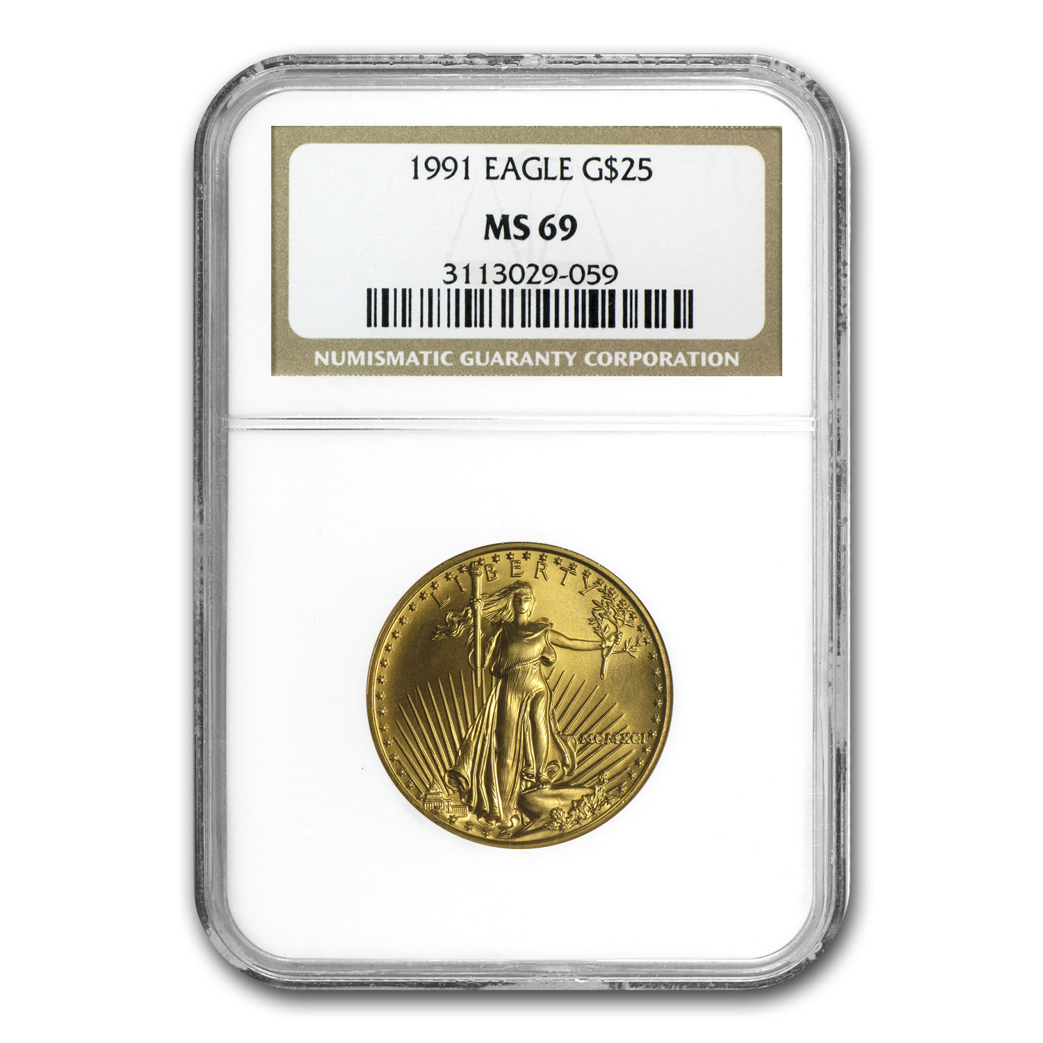 1991 1/2 oz Gold American Eagle MS-69 NGC