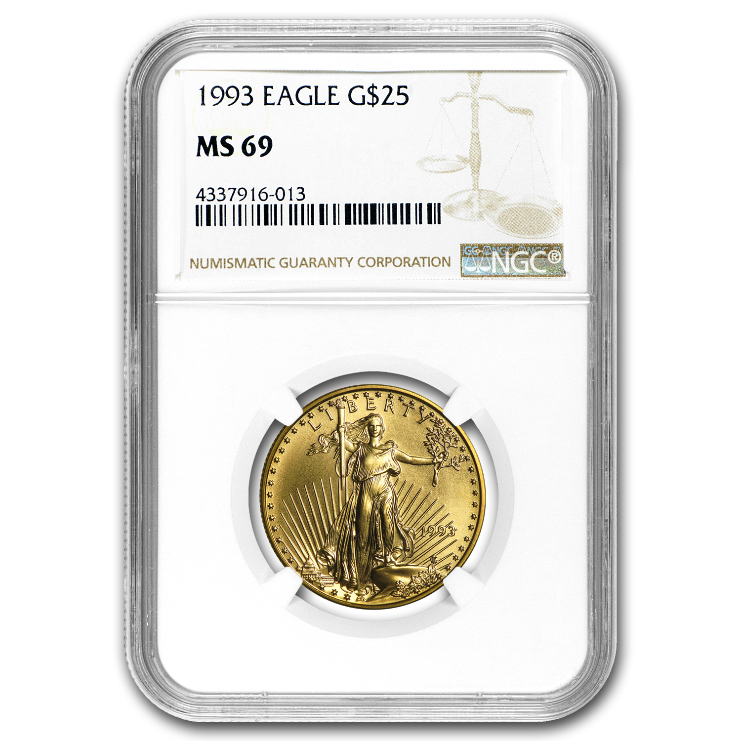 1993 1/2 oz Gold American Eagle MS-69 NGC