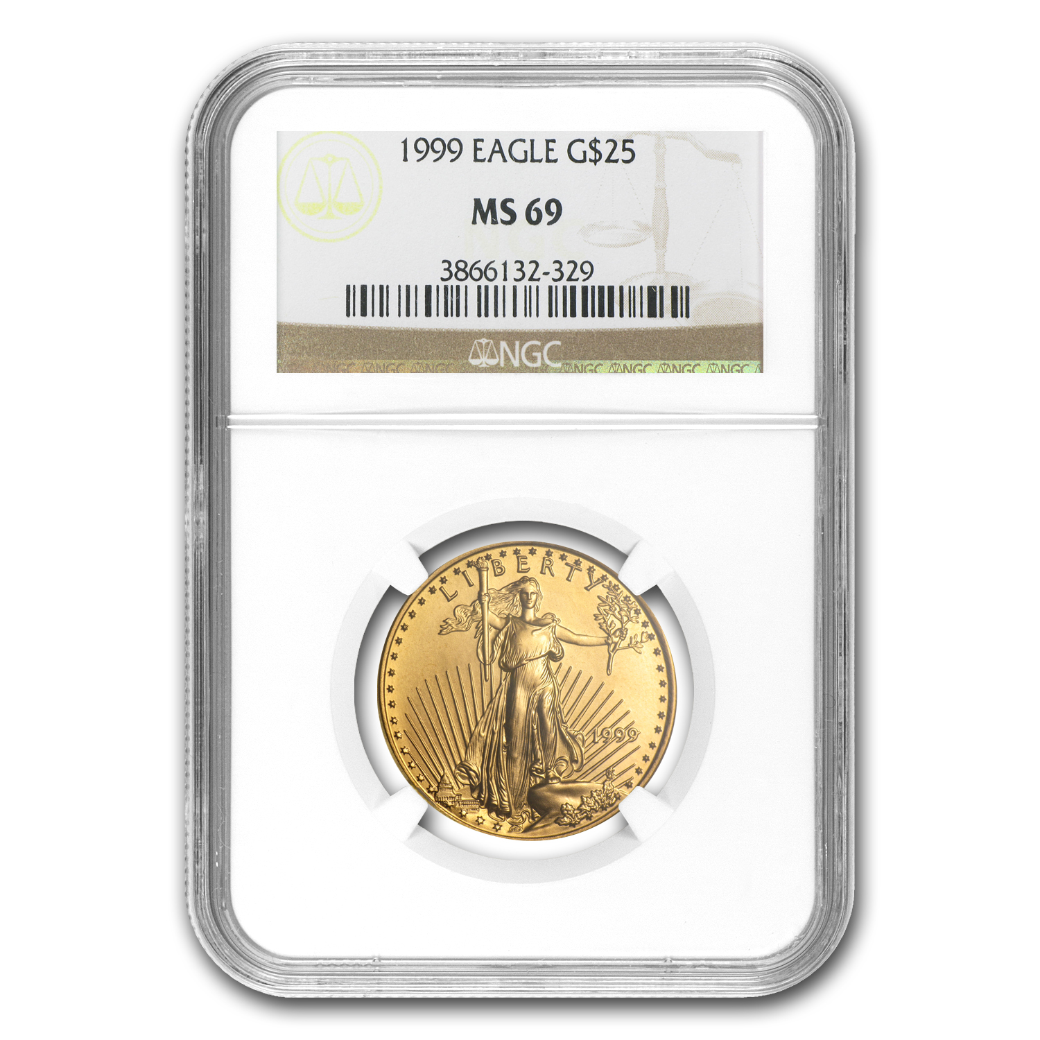 1999 1/2 oz Gold American Eagle MS-69 NGC