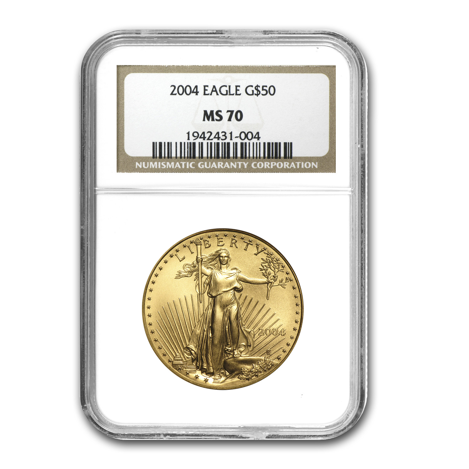 2004 1 oz Gold American Eagle MS-70 NGC