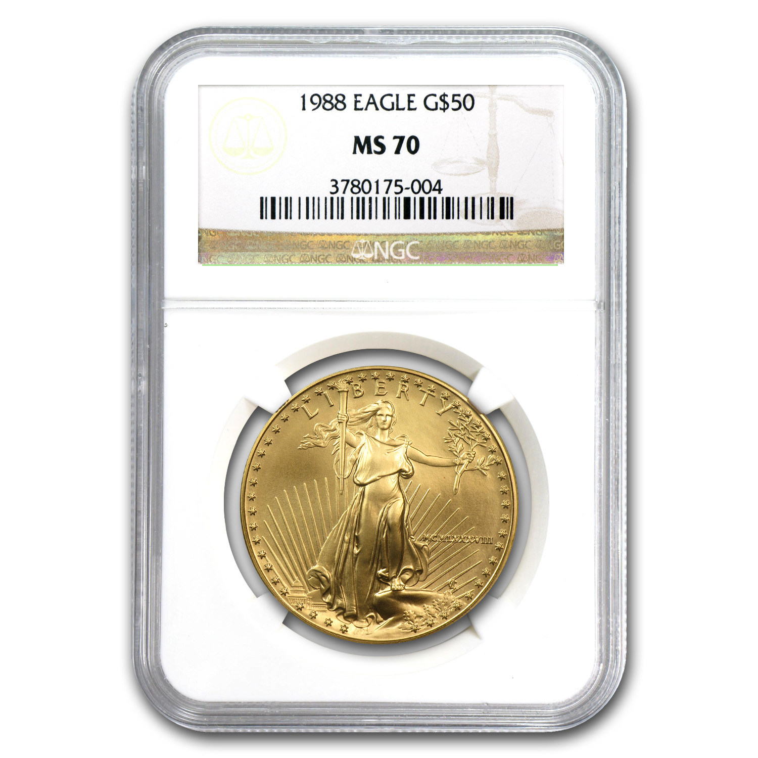 1988 1 oz Gold American Eagle MS-70 NGC (Registry Set)