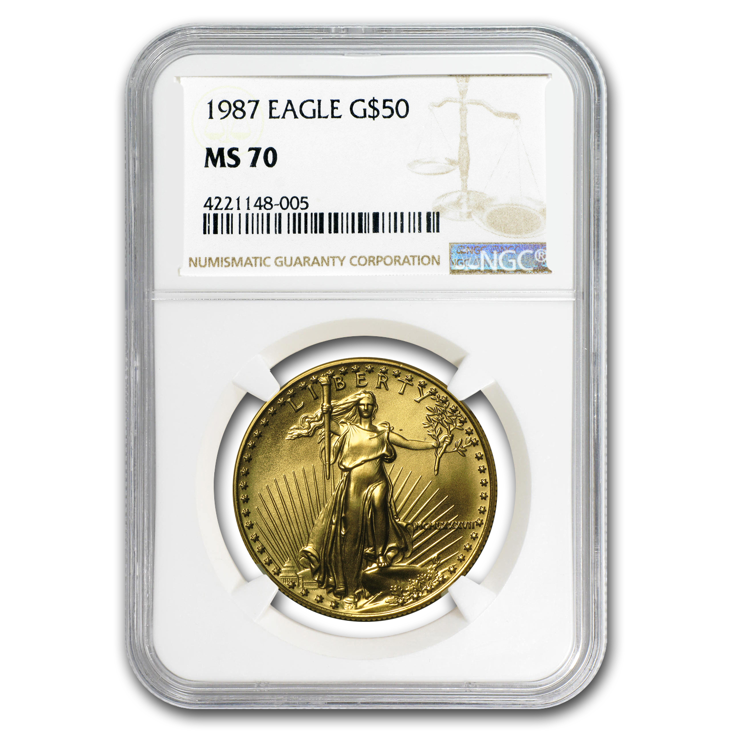 1987 1 oz Gold American Eagle MS-70 NGC