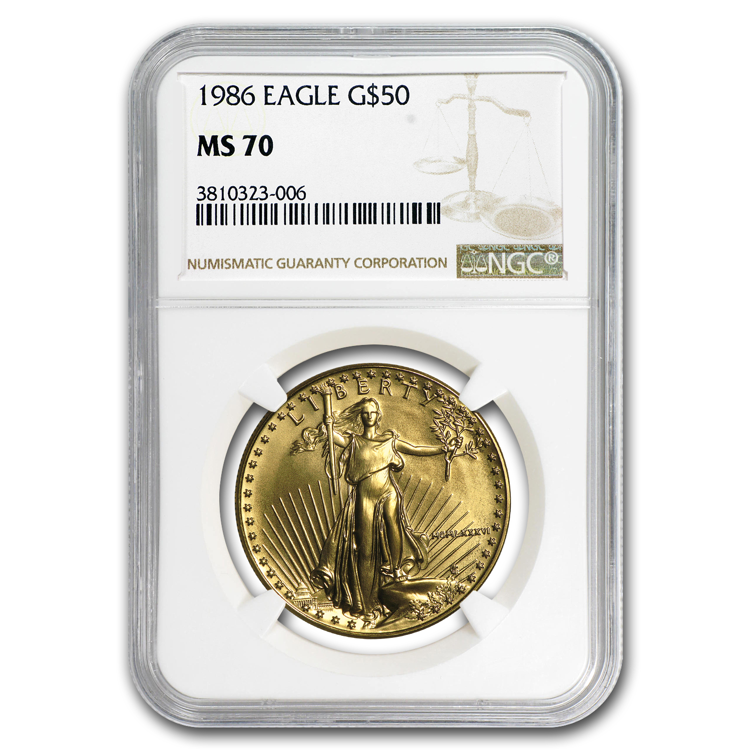 1986 1 oz Gold American Eagle MS-70 NGC