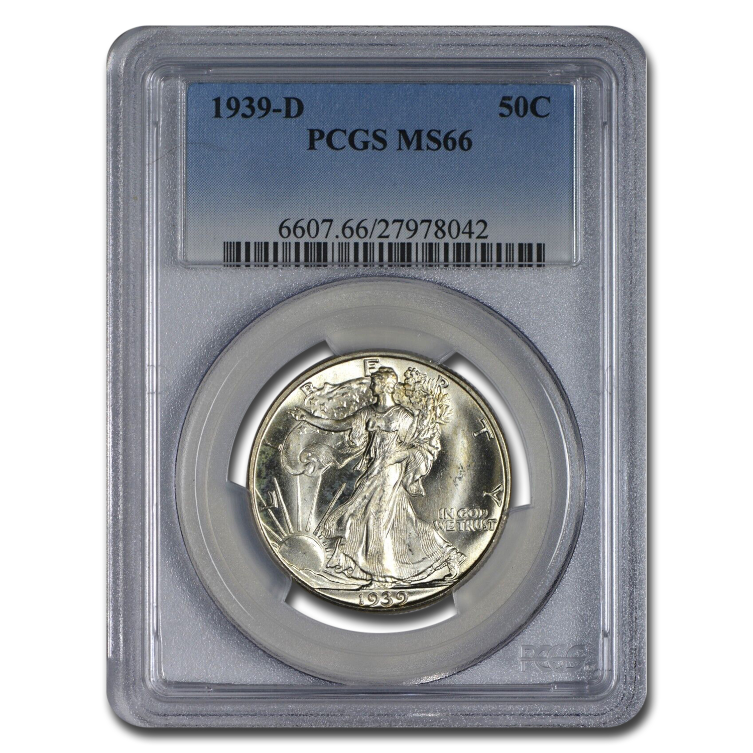 1939-D Walking Liberty Half Dollar MS-66 PCGS