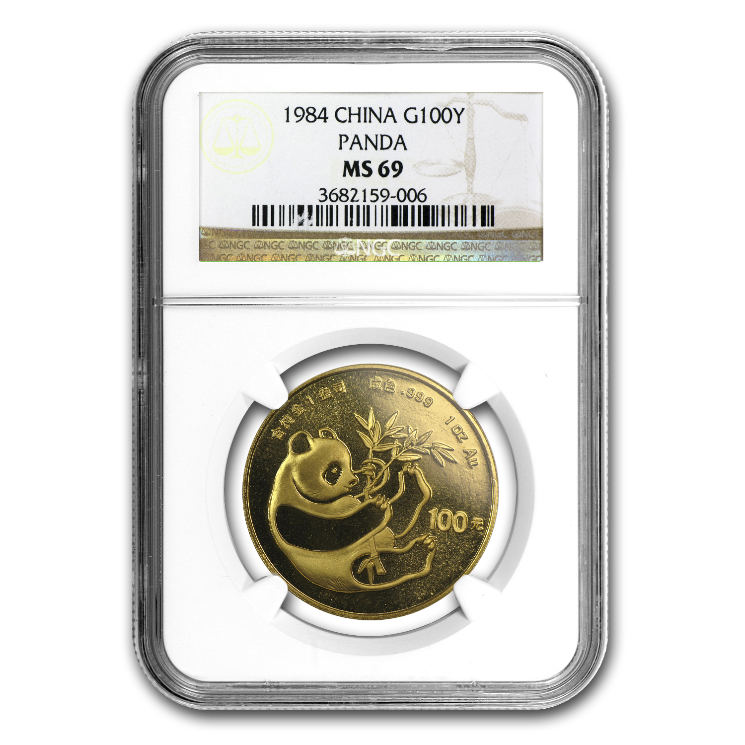 1984 1 oz Gold Chinese Panda MS-69 NGC