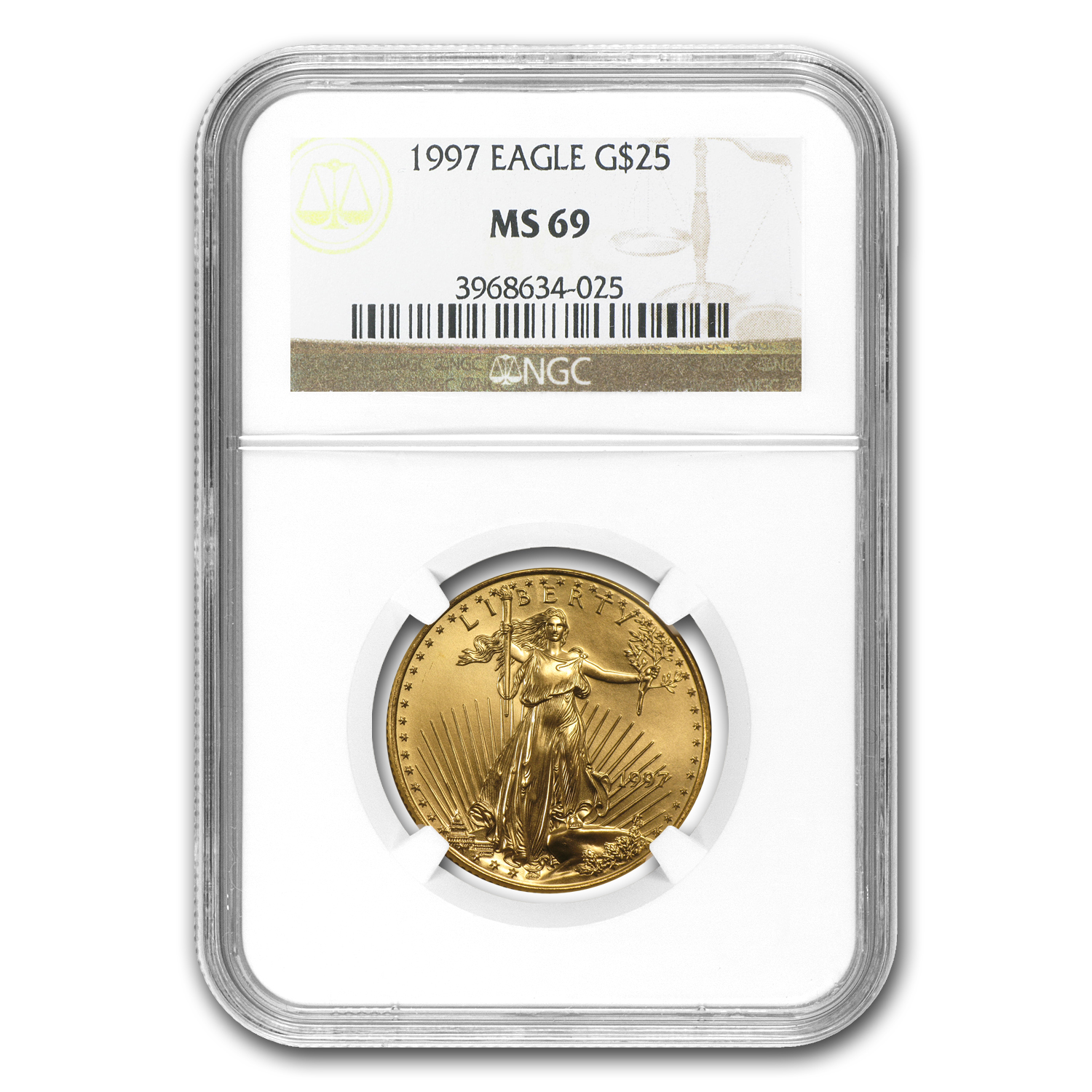 1997 1/2 oz Gold American Eagle MS-69 NGC