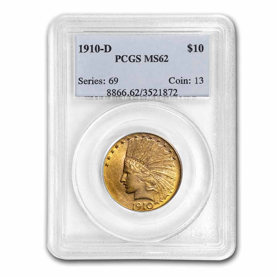 1910-D $10 Indian Gold Eagle MS-62 PCGS