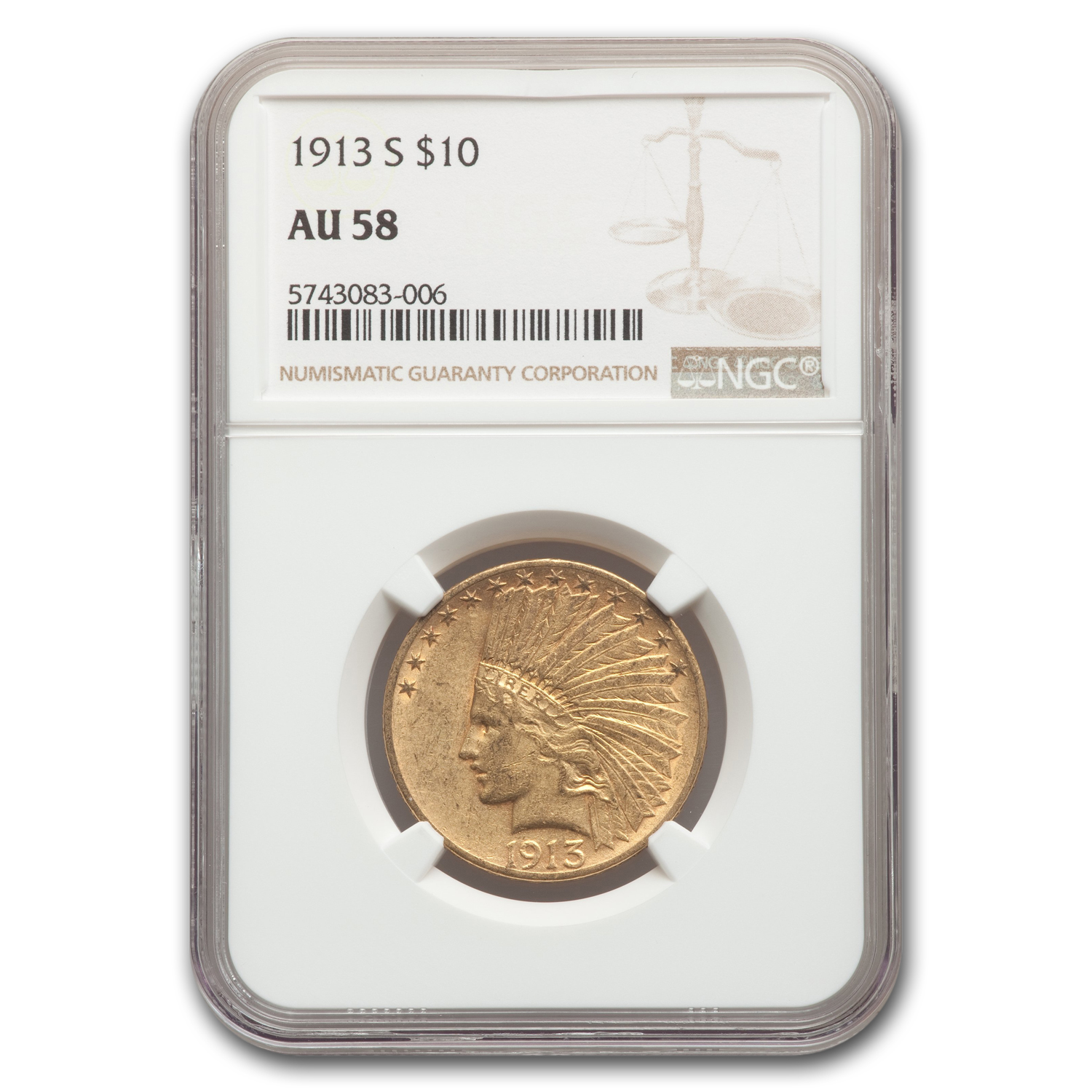 1913-S $10 Indian Gold Eagle AU-58 NGC