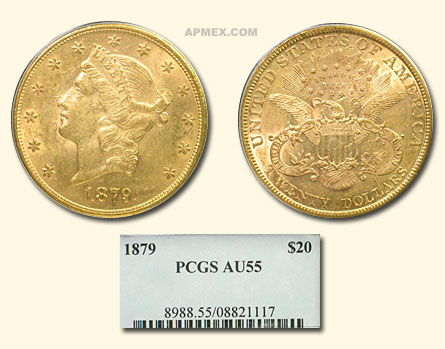 1879 $20 Liberty Gold Double Eagle AU-55 PCGS