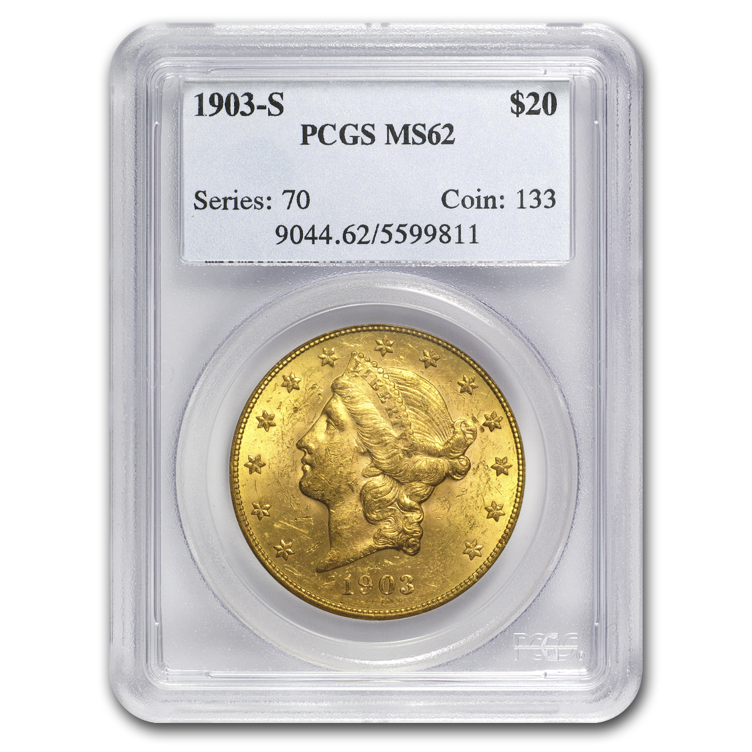 1903-S $20 Liberty Gold Double Eagle MS-62 PCGS