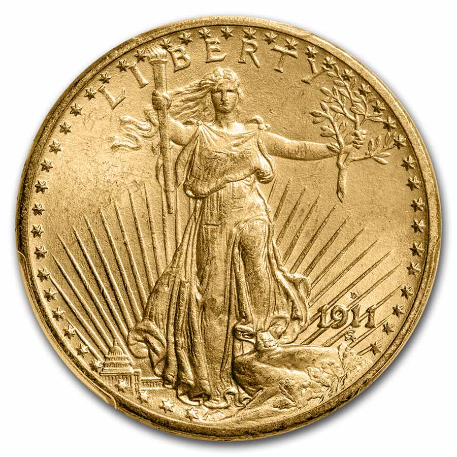 1911-D $20 St. Gaudens Gold Double Eagle MS-64 PCGS