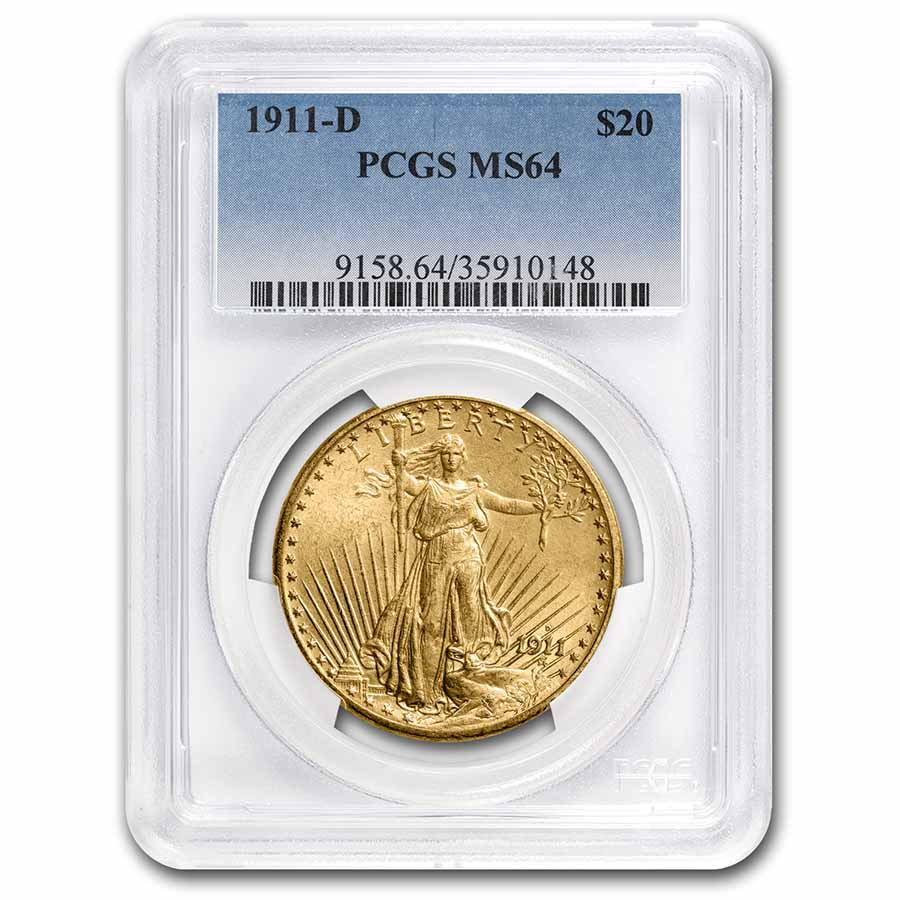 1911-D $20 Saint-Gaudens Gold Double Eagle MS-64 PCGS