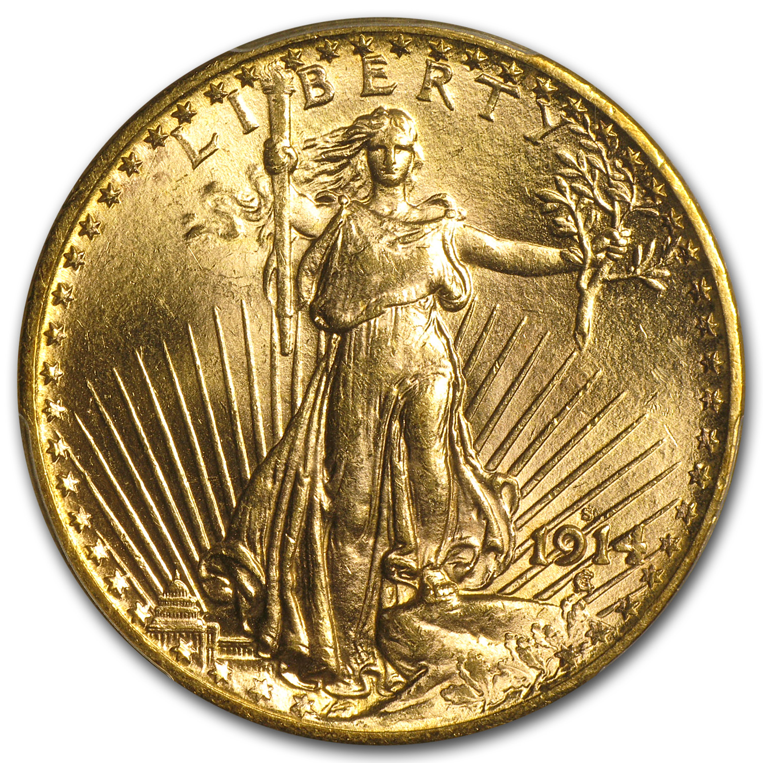 1914-S $20 Saint-Gaudens Gold Double Eagle MS-63 PCGS