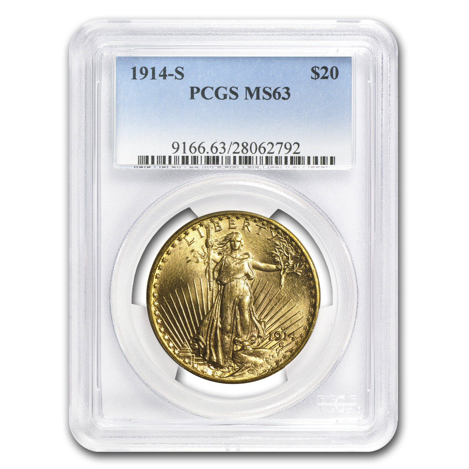 1914-S $20 St. Gaudens Gold Double Eagle MS-63 PCGS