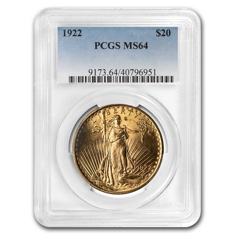 1922 $20 St. Gaudens Gold Double Eagle MS-64 PCGS