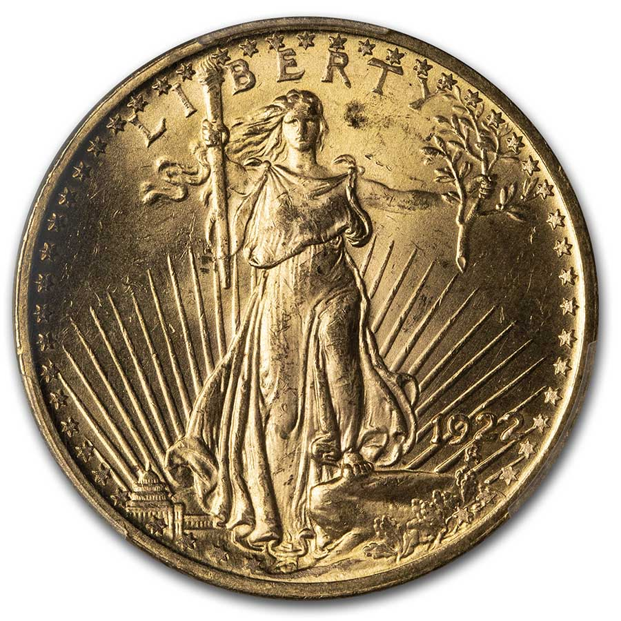1922 $20 St. Gaudens Gold Double Eagle - MS-64 PCGS