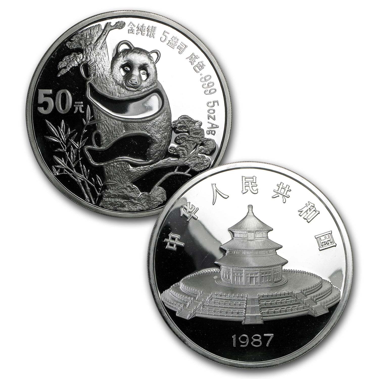 1987 China 2-Coin Silver Panda Proof Set (w/Box and COA)