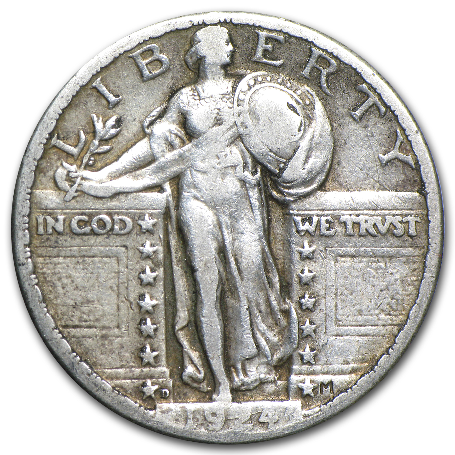 1924-D Standing Liberty Quarter VF Details (Cleaned)
