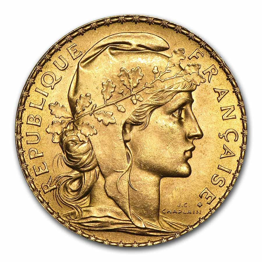 French Coins French Gold 20 Franc Rooster Le Coq
