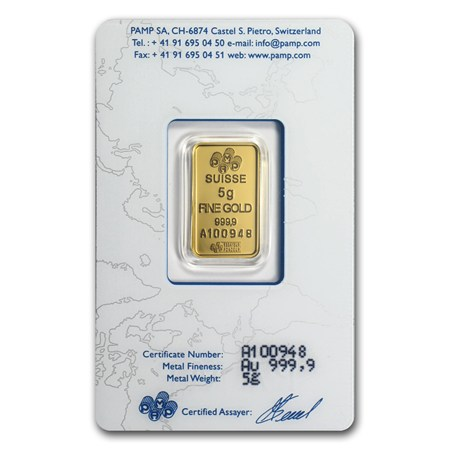 5 Gram Gold Bar Pamp Suisse Lady Fortuna In Assay