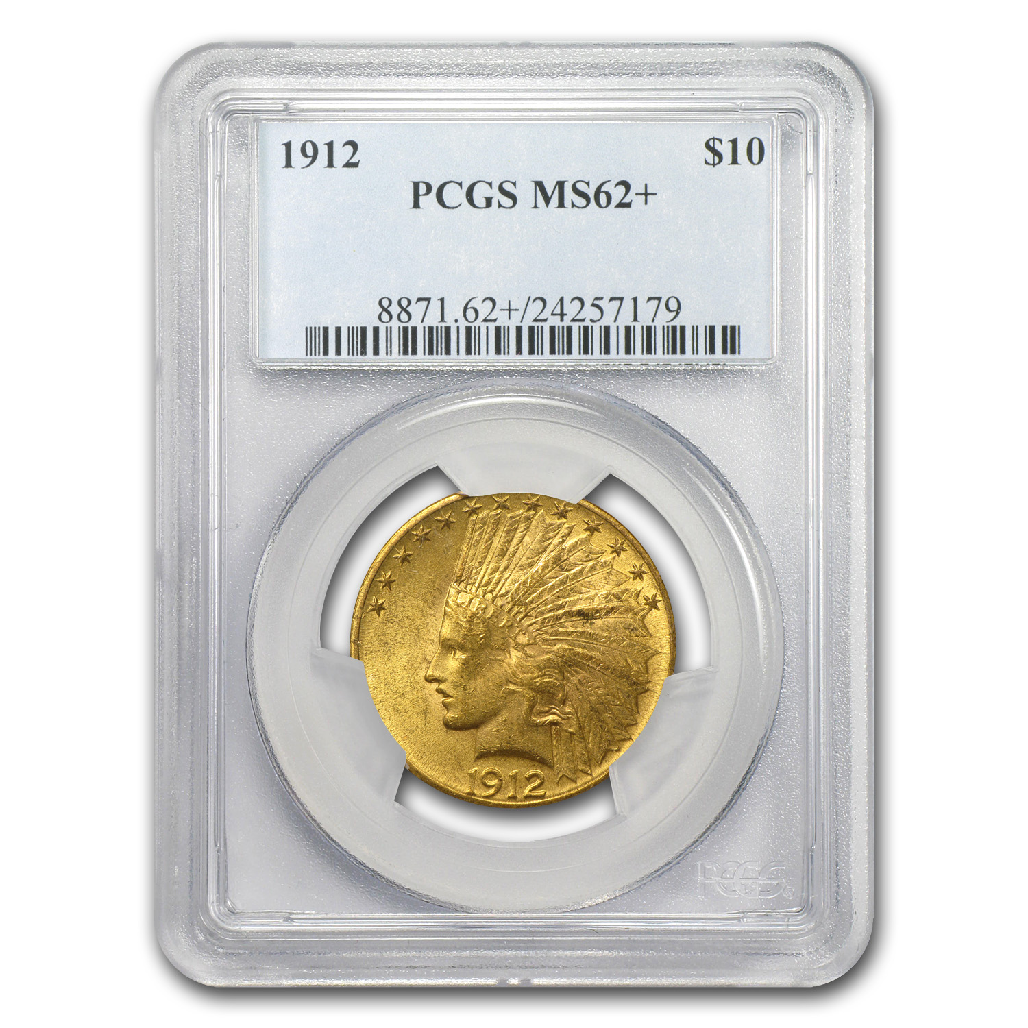 1912 $10 Indian Gold Eagle MS-62+ PCGS