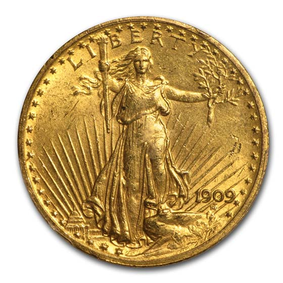 1909 $20 St. Gaudens Gold Double Eagle MS-62 PCGS