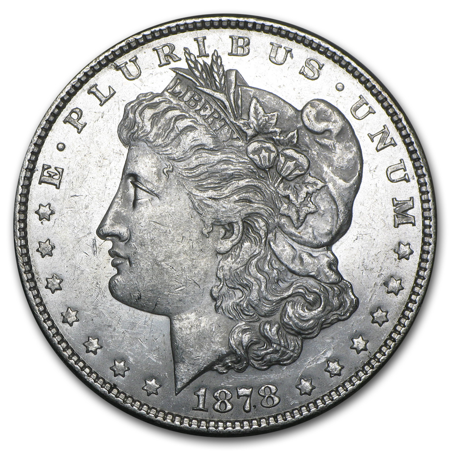 1878 Morgan Dollar 7/8 Tailfeathers AU-55