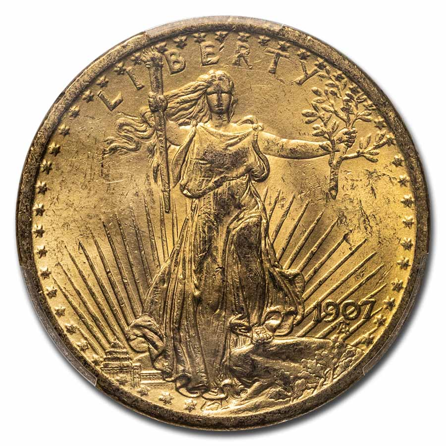 1907 $20 St. Gaudens Gold Double Eagle MS-62 PCGS