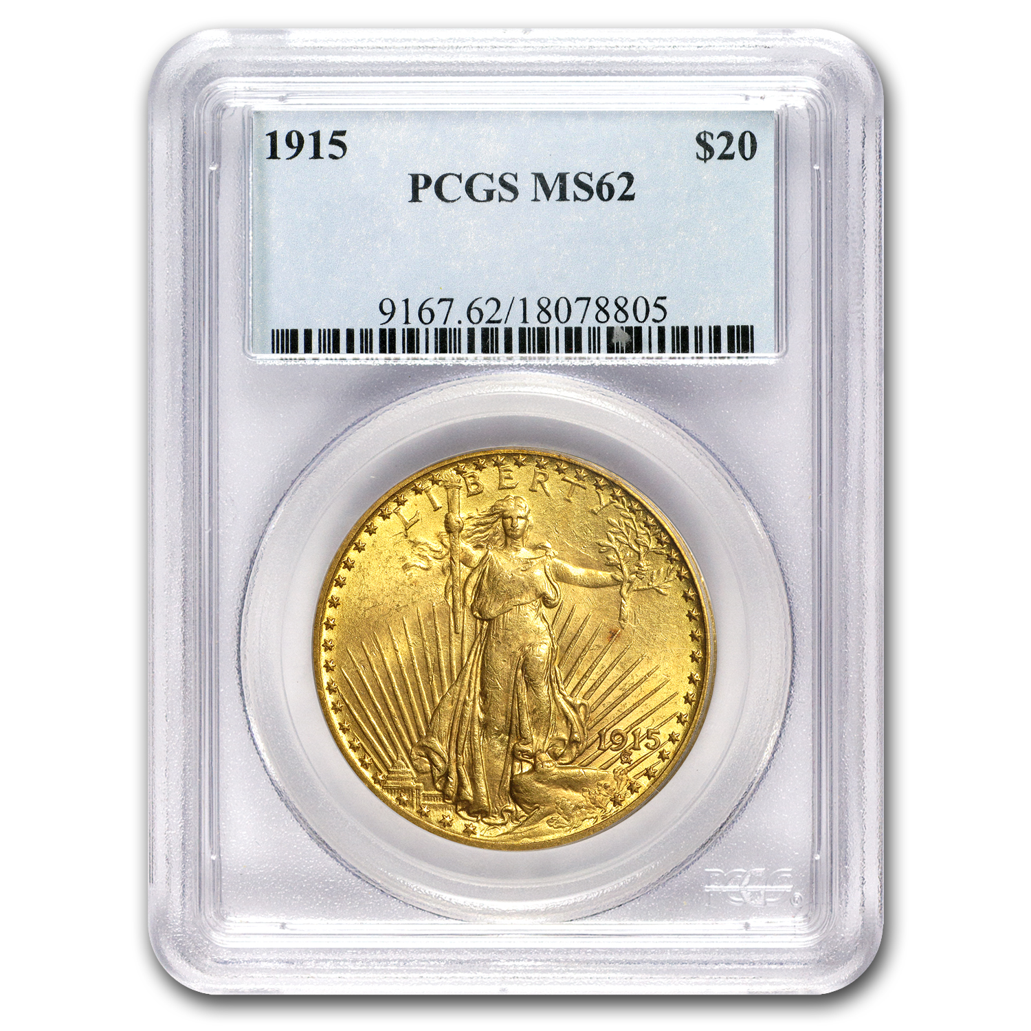 1915 $20 St. Gaudens Gold Double Eagle - MS-62 PCGS
