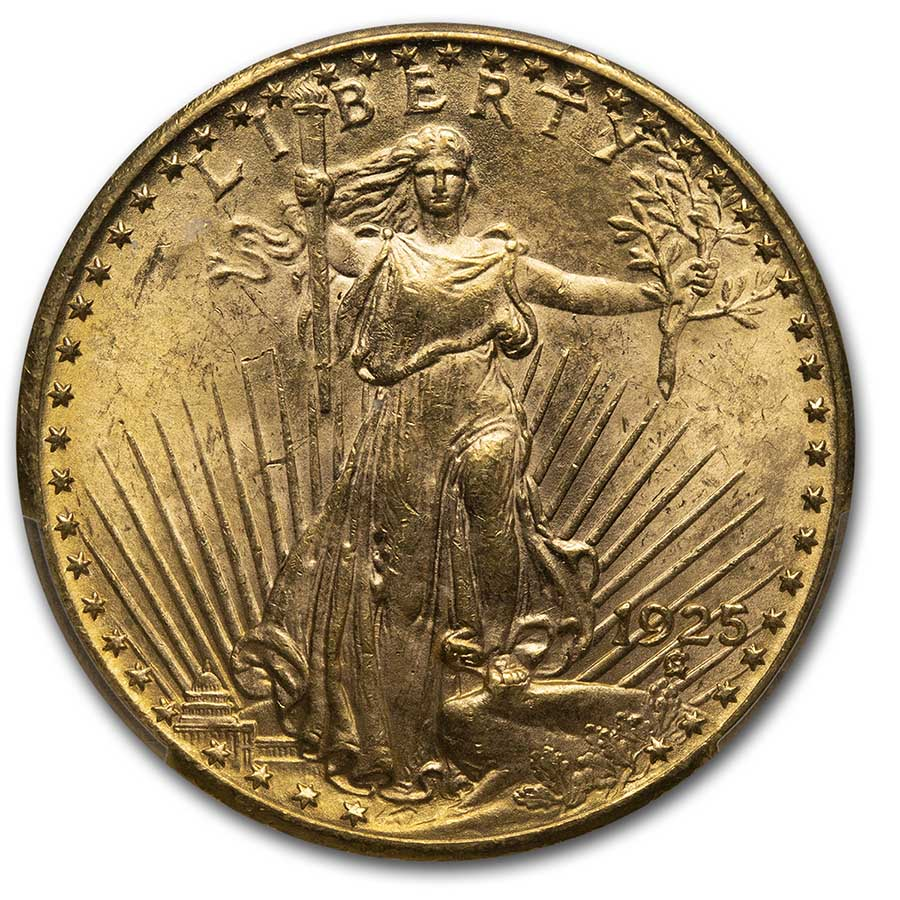 1925 $20 St. Gaudens Gold Double Eagle MS-64 PCGS