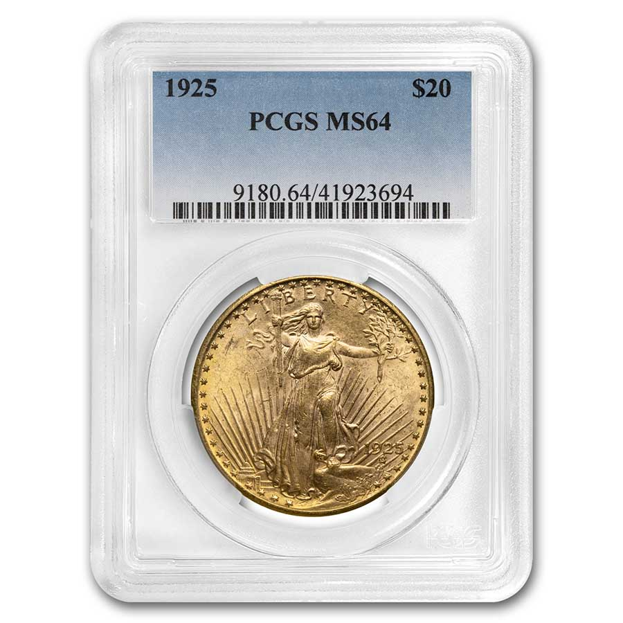 1925 $20 Saint-Gaudens Gold Double Eagle MS-64 PCGS