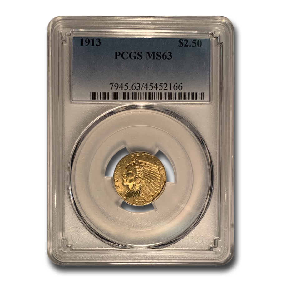 1913 $2.50 Indian Gold Quarter Eagle MS-63 PCGS