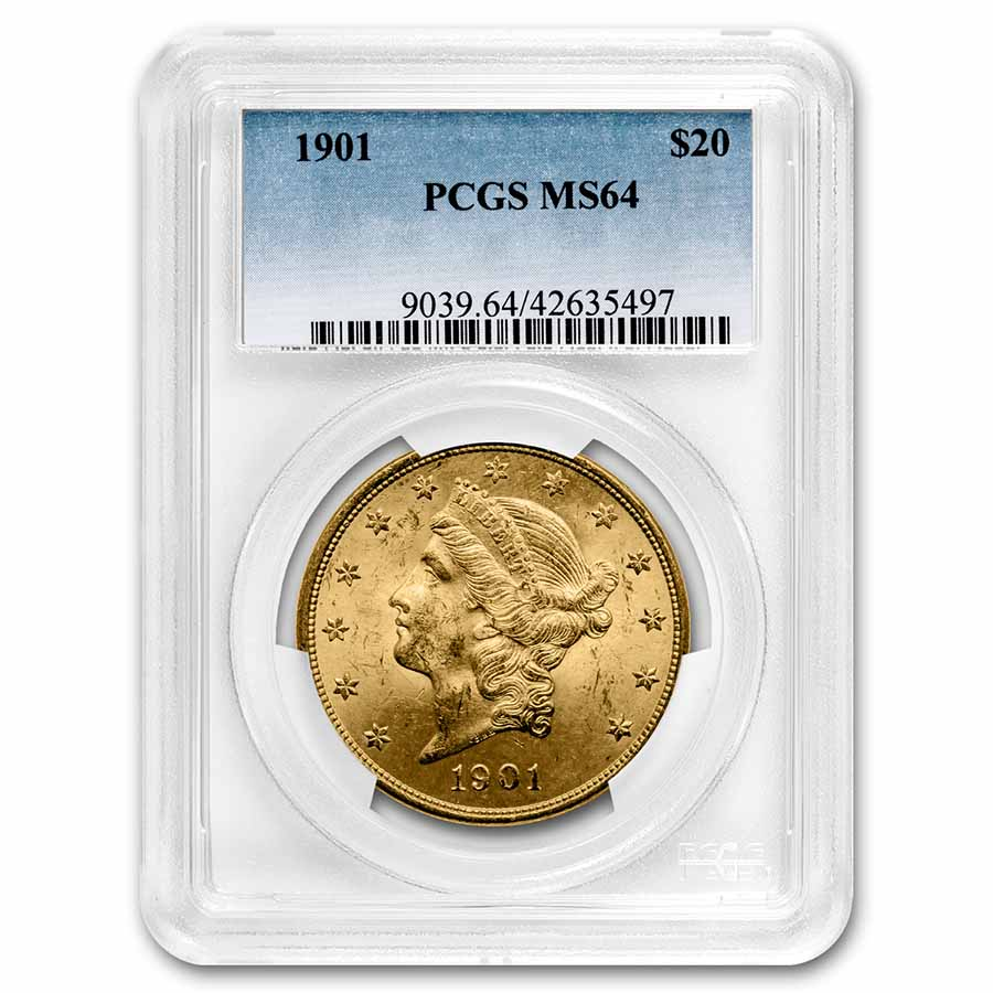 1901 $20 Liberty Gold Double Eagle MS-64 PCGS